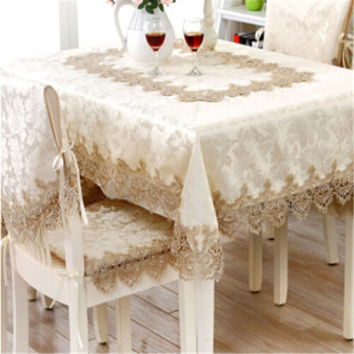 European Style Lace Tablecloth Table Cover Satin for Banquet