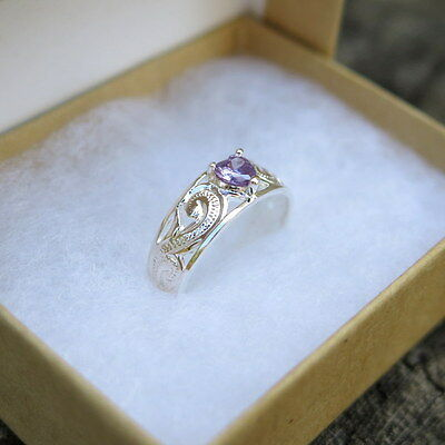 Hawaiian Sterling Silver Scrolling Hawaii Heart Purple CZ Toe Ring TR1144