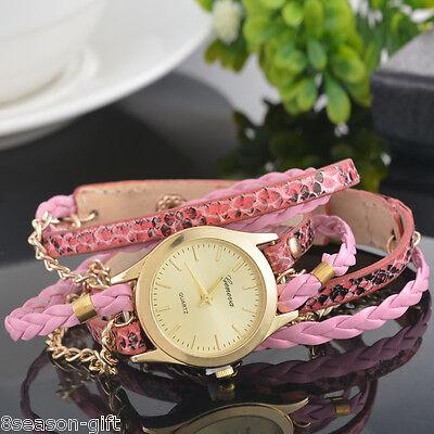 - NEW Womens Fashion fashion Leopard Faux Leather Watch Girls Cuff Wristwatches GW