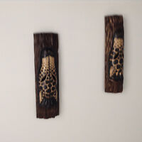 Pair of wooden wall giraffes   20 inches high
