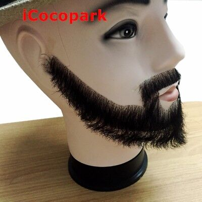 100% Human Hair Handmade Fake Mustache Beard for Entertainment/Drama/Party - Beards Fake