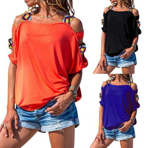 Women Summer Cold Shoulder Short Sleeve Loose T Shirt Casual Tunic Tops Blouse