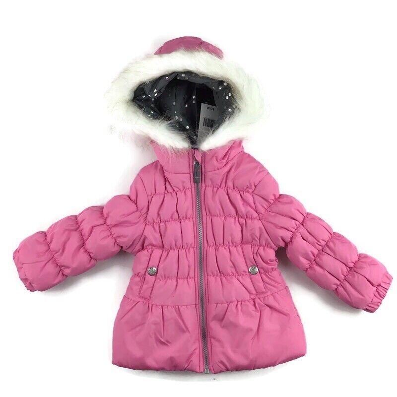 NEW Weathertamer Toddler Girl 2T Pink Winter Fur Hood Puffer Jacket Coat NWT $75