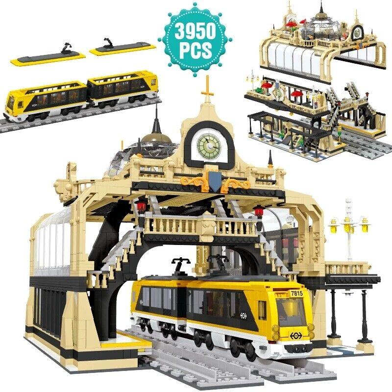 Klemmbaustein Eisenbahn Bahnhof Moc 3950 Teile über 5 kg !