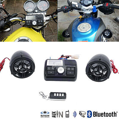 Bluetooth Motorcycle Handlebar Audio Amplifier Stereo Speaker System Mp3 Fit H D