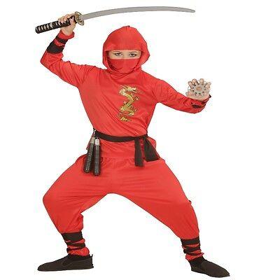 Ninja Kind Kostüme (ROTES NINJA KOSTÜM Kind Kampfsport Kung Fu Kämpfer Samurai Fasching Jungen)
