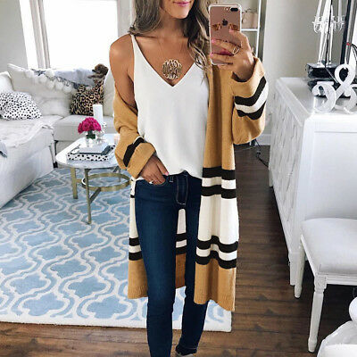 Long Jacket Coat Tops Outerwear Women Long Sleeve Knitted Cardigan Loose Sweater