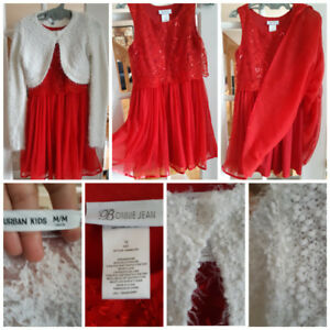 NEW-Christmas Red Girl's Dress Size 12 & White Cardigan sweater