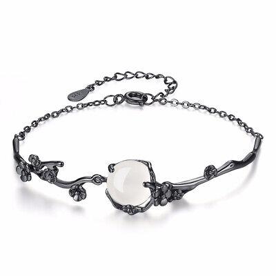 LEKANI  925 Sterling Silver Plum Flower Opal Women Bracelet Black Gold Plated Black Gold Opal Bracelets