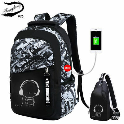 FengDong boys school bags letters waterproof large backpack for teenagers
