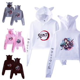 Demon Slayer Crop Bunny Cropped Hoodies