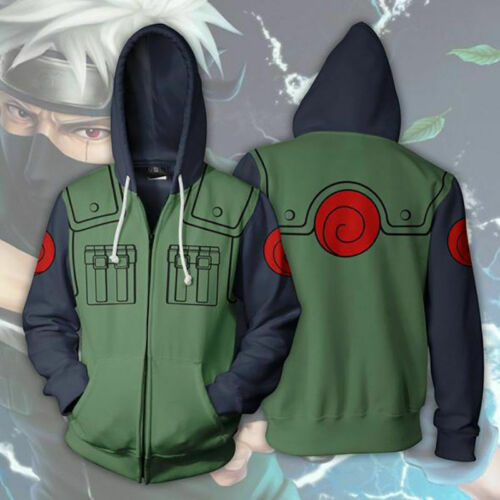 Naruto Kakashi Costume Cosplay Hoodie Zip Jacket Sweatshirt Sweater Shirt L