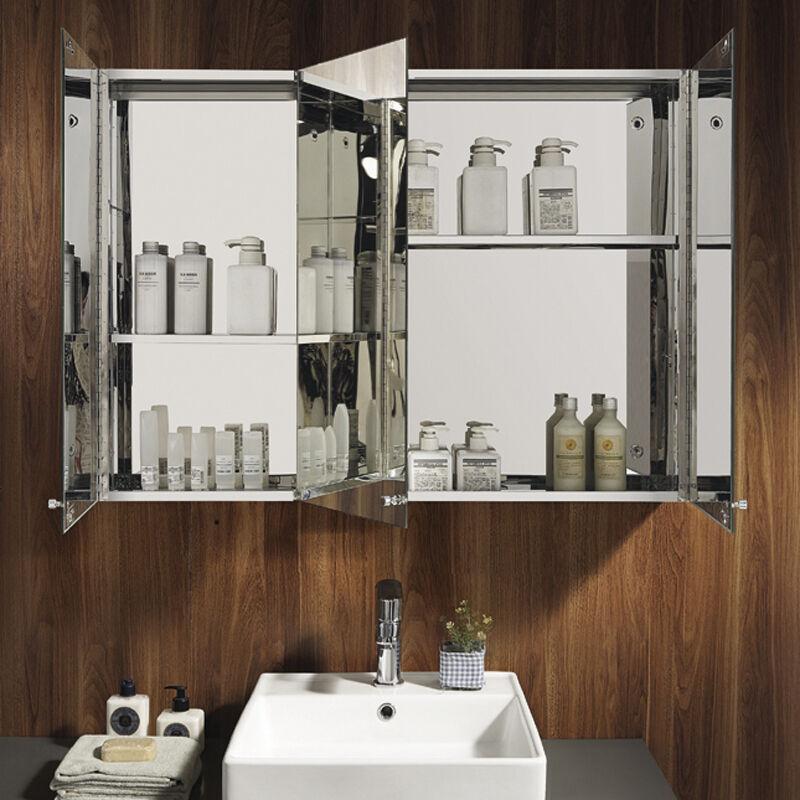 Triple Door Mirror Stainless Steel Cabinet Wall Mounted Bathroom Storage Ebay