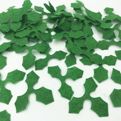 Felt Leaves (100pcs Green Holly leaves Felt Appliques DIY Sewing Christmas Decoration)