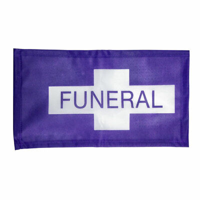 Purple And White Funeral Flag Hearse Processional Banner