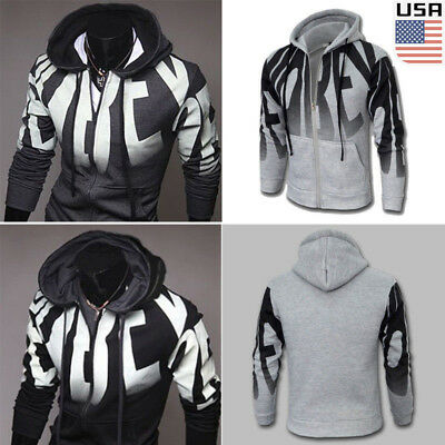 Winter Men Slim Hoodie Warm Hooded Sweatshirt Coat Jacket Outwear Sweater USA