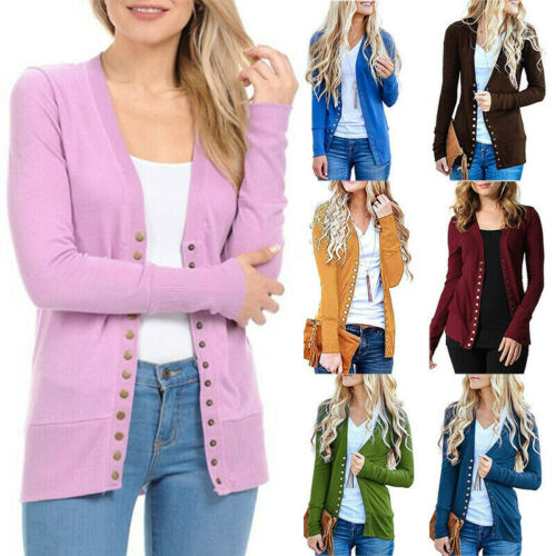 Womens Button Down Cardigan Tops Long Sleeve Knit Sweater Jacket Coat Outwear Clothing, Shoes & Accessories