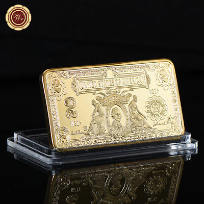 WR 1899 $2 Silver Certificate Banknote 999 Gold Clad Bullion Ingot Bar Collector