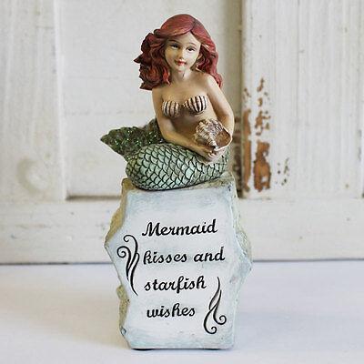 Mermaid Kisses & Starfish Wishes - Coastal Mermaid  Figurine. Beach/Nautical