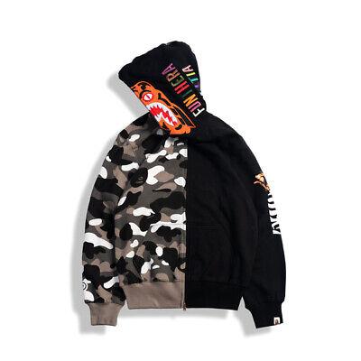 Bape A Bathing Ape Camo Hoodie Shark Head Sweatshirt Windbreaker Jacket Coat #@$