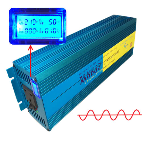 2000W/4000W Peak Pure Sine Wave Power Inverter DC 12V to AC 230V Car Caravan LCD