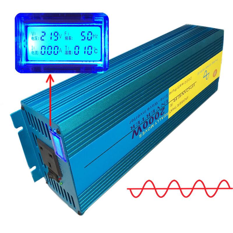 2000W/4000W Peak Pure Sine Wave Power Inverter DC 12V to AC 230V Car Caravan LCD