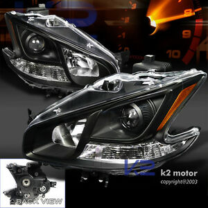 Depo Black Clear Projector Headlights For 2009-2012 Nissan Maxima
