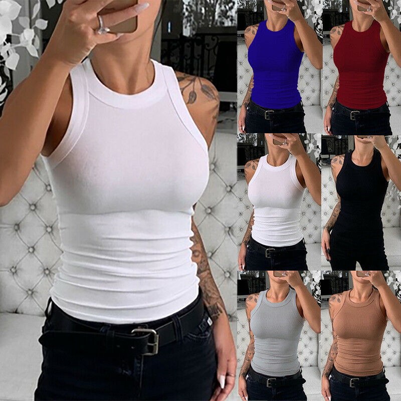 Women Sleeveless Tank T Shirt Crew Neck Casual Solid Blouse Beach Party Slim Top