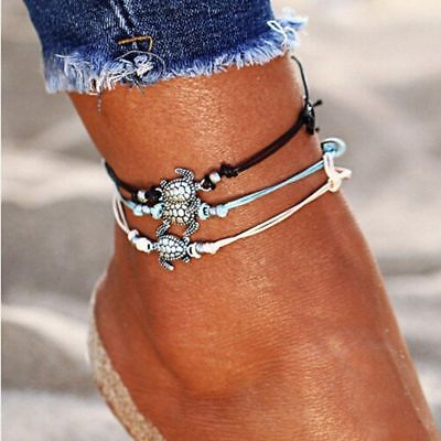 Set White Anklet - 3pcs/set Multiple Layers Anklets Women Turtle Anklet Beach Bracelet Foot Jewelry