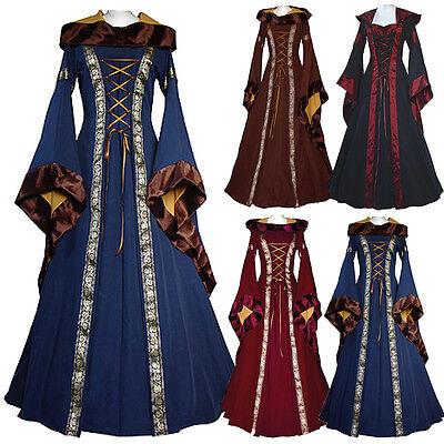 Women Renaissance Retro Witch Black Long sleeve Costume Halloween Cosplay Dress