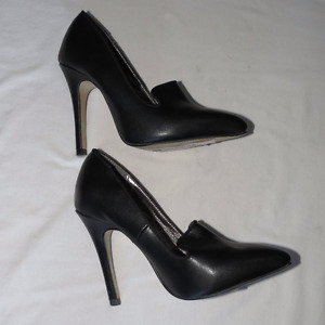 Size 5, women's shoes, one black pair, one plaid