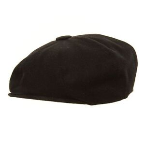 Adults-Black-Wool-Blend-8-Panel-Newsboy-Gatsby-Hat-Mens-Ladies-Bakerboy-Cap