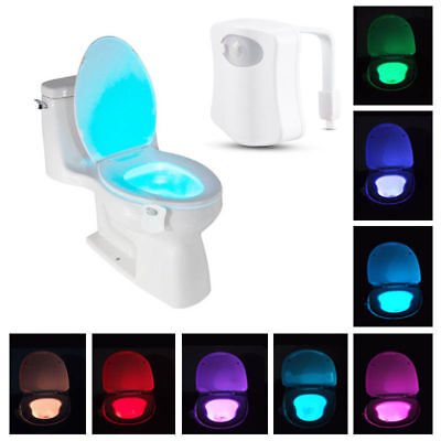 LED Body Motion Activated 8 Color Toilet Bowl Bathroom Kids Night Light Lamp NEW