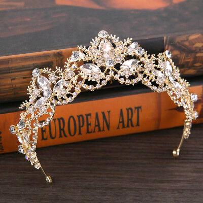 Crystal Bridal Swarovski Rhinestone Wedding Crown Tiara Headpiece Gold or Silver](Gold Crown Headpiece)