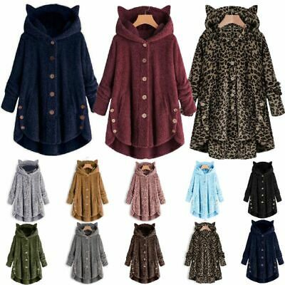 Plus Womens Winter Cat Ears Hooded Fluffy Coat Fleece Fur Jacket Loose Baggy -