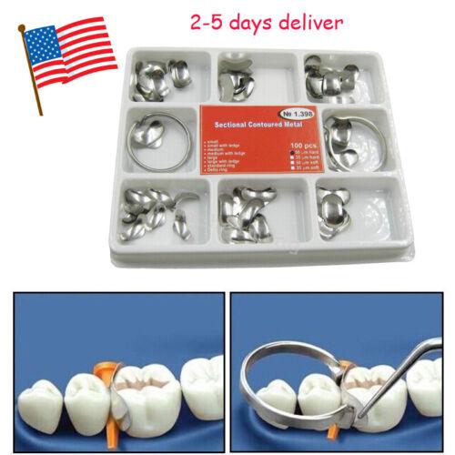 USA 100 Pcs Dental Matrix Sectional Contoured Metal Matrices No.1.398lmws Hard A