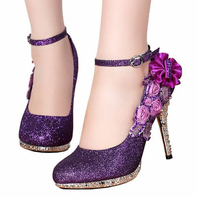 Women High Heels Glitter Sequins Strappy Flowers Dress Wedding Bridal New Shoes High Heels Strappy Bridal Shoes