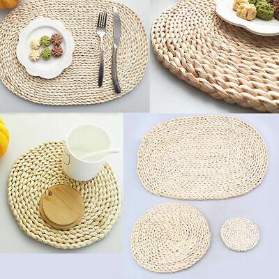 Rattan Mats Straw Cup Coasters Dining Table Mat Heat Drink Coaster Kitchen Decor - Straw Mats