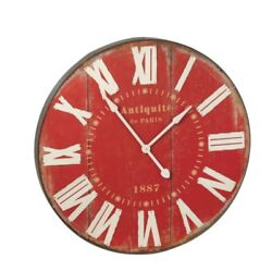 36 RED WALL CLOCK Wood MDF Midwest CBK NEW 114128 FaBuLouS!