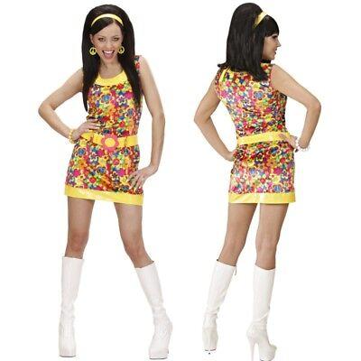Sexy Disco Kleid Peace & Love 70er Jahre - Sexy 70er Jahre Kostüme