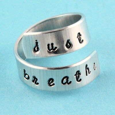 - Just Breathe Adjustable Twist Ring - Pewter Silver Wrap - Inspirational Gift