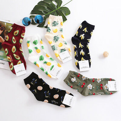 Fashion Cute Banana Cherry Avocado Pineapple Women Socks Lounge Slipper Gift