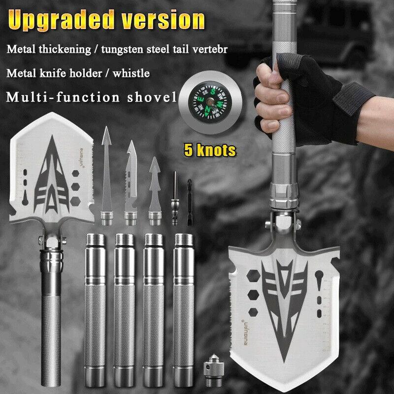 Military Folding Shovel Camping Axe Survival Hatchet Kit Entrenching Multitool