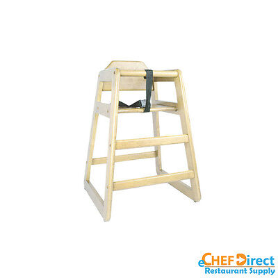 Restaurant Wooden High Chair Child Seat With Seat Belt - Natural Finish