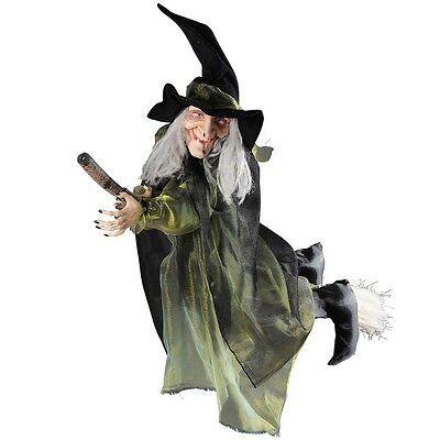 Hexe auf fliegendem Besen ca. 100 cm Halloween Party Raum Deko Fasching 875g