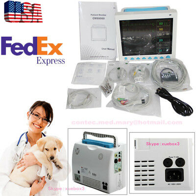 Vet Veterinary Patient Monitor Vital Sign 6 Parameter Ecg Nibp Spo2 Pr Resp Temp