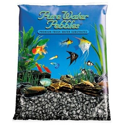 Pure Water Pebbles Aquarium Gravel Black Frost 25 lbs(Grain Size 8.7-9.5 mm)