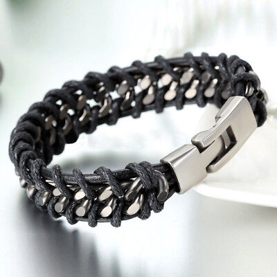 Men's Cool Braided Leather Silver Stainless Steel Cuban Chain Bracelet Bangle