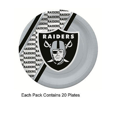New 20pc NFL Disposable Party Supplies Paper Plates Oakland Raiders - Oakland Raiders Party Supplies