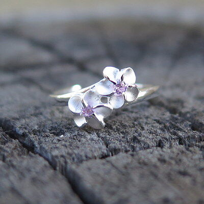 Hawaiian 925K Sterling Silver 2 Plumeria Pink Center CZ Toe Ring 4mm TR1022